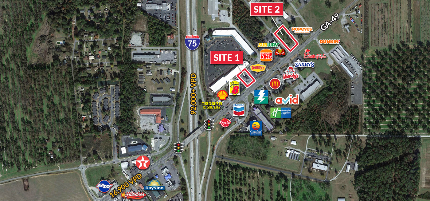 Interstate pad sites available for build-to-suit opportunities in Byron GA off I-75