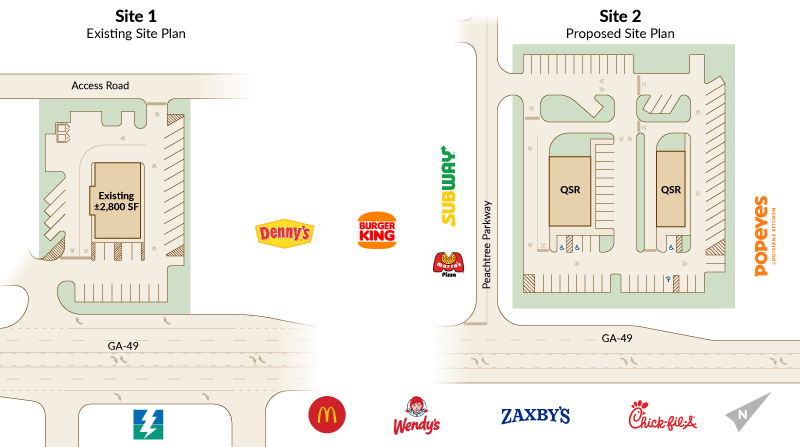 I-75 interstate sites available for development QSR fast food