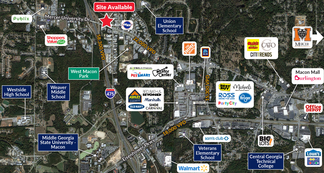 Pad sites available for Build-to-Suit in Macon Georgia
