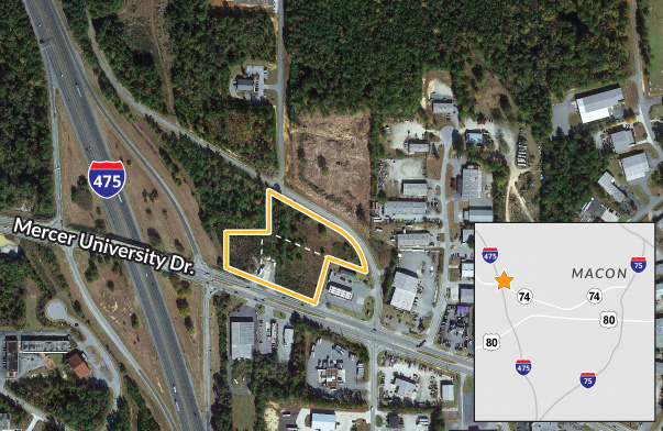 Commercial pad sites available in Macon, GA at I-475 exit ramp