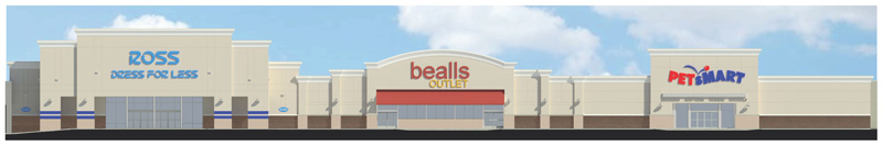 Architect's rendering of the Ross, PetSmart, and Bealls storefronts at Heritage Walk after redevelopment