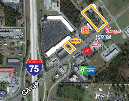 Interstate pad sites for development along I-75 in Byron, GA