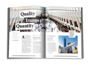 """Interior spread of Chain Store Age with an article called """"Quality Trumps Quantity"""""""